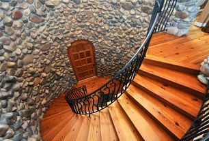 Rustic Staircase with specialty door, High ceiling, Hardwood floors