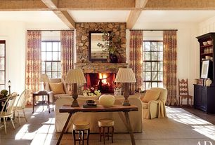 Eclectic Living Room with Upholstered wingback chair, Carolina cottage - windsor dining chair, Casement, Paint, Exposed beam
