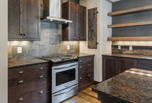 Contemporary Kitchen with Complex granite counters, Paint 1, Flat panel cabinets, Slate Tile, Stone Tile, Paint 3, can lights