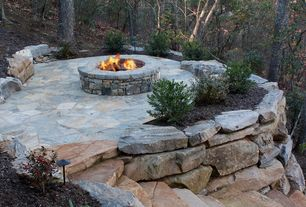 Rustic Landscape/Yard with Pathway, exterior stone floors, Fire pit