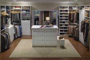 Traditional Closet with Walk in closet, can lights, Open shelves, Paint 1, Neutral area rug, Hardwood floors