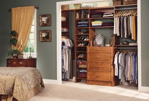 Traditional Closet with Built-in bookshelf, Carpet, Luminous 96-inch rod pocket curtain panel