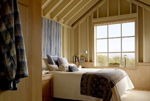 Cottage Guest Bedroom with Pendant light, Wainscotting, Cathedral ceiling, picture window, Built-in bookshelf, Exposed beam