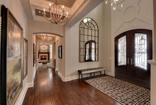 Traditional Entryway with Box ceiling, Hardwood floors, High ceiling, Chandelier, French doors