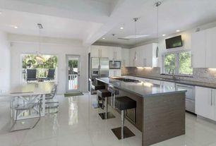 "Contemporary Kitchen with Flush, Breakfast bar, flush light, European Cabinets, Dynasty Hardware European 8.75"" Bar Pull"