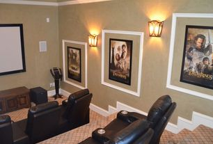 Traditional Home Theater with Wall sconce, High ceiling, Carpet, Chair rail