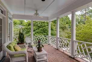 Traditional Porch with Screened porch, French doors, exterior brick floors, Transom window