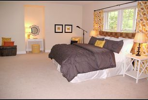 Traditional Guest Bedroom with double-hung window, Art desk, Standard height, Carpet