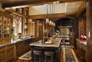 Rustic Kitchen with High ceiling, Metal Tile, Breakfast bar, MS International Granite Blanco Tulum, Wall sconce, Exposed beam