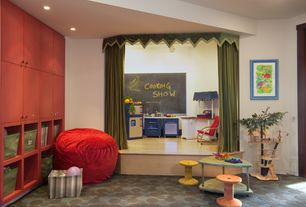 Contemporary Playroom with Built-in bookshelf, Pendant light, Carpet