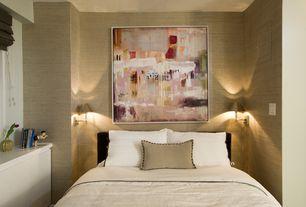 Contemporary Master Bedroom with interior wallpaper
