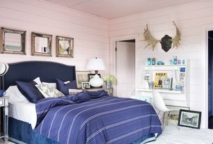 Eclectic Guest Bedroom with Dimond Continuum Table Lamp 3935/1, Barn door, Built-in bookshelf, Carpet, Nuevo Max Dining Chair