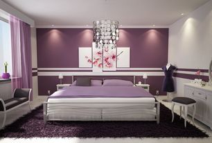 Modern Master Bedroom with flush light, Paint 1, Paint 2, Chair rail, Standard height, Casement, can lights, Concrete tile