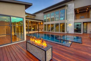 Contemporary Swimming Pool with Fire pit, Pool with hot tub, French doors