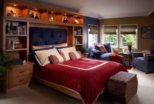 Contemporary Master Bedroom with Carpet, Built-in bookshelf, Skyline furniture tufted headboard in navy