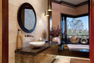 Asian Master Bathroom with Winston taupe paper weave grasscloth wallpaper, Pendant light, Master bathroom, Balcony, Flush