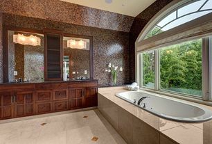 Traditional Master Bathroom with wall-mounted above mirror bathroom light, Master bathroom, Soapstone counters, can lights