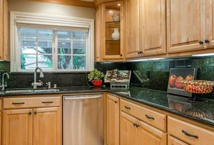 Traditional Kitchen with Simple granite counters, L-shaped, Simple Granite, Raised panel, Frigidaire top Control Dishwasher