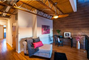Modern Home Office with Hardwood floors, Exposed beam, Ceiling fan