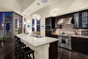 """Contemporary Kitchen with Glass panel, Wolfe - 36"""" gas range - 4 burners and infrared griddle, Undermount sink, Pendant light"""