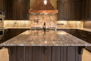 "Mediterranean Kitchen with Paint 1, Colonial cream, Copperworks Milano 48"" 1200 CFM Range Hood, Carnaval"