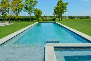 Traditional Swimming Pool with Trellis, exterior tile floors, Pool with hot tub