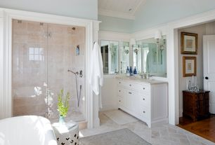 Traditional Master Bathroom with Restoration Hardware - Kent Extra-Wide Single Vanity Sink, Handheld showerhead, Wainscotting
