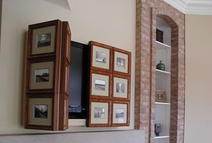 Traditional Living Room with Pottery Barn Mirror Cabinet Media Solution, Brick wall, Crown molding, Built-in bookshelf