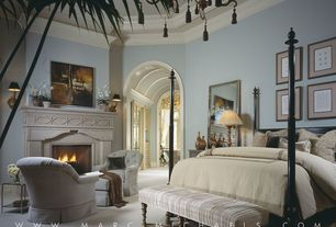 Traditional Master Bedroom with Carpet, Crown molding, High ceiling, DEMERE BED, FRENCH TURNED LEGS BENCH, Chandelier