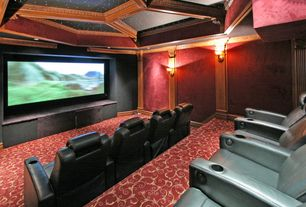 Contemporary Home Theater with Paint, Galaxy twilight star panel, Wall sconce, Box ceiling, Standard height, can lights
