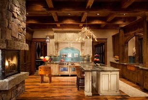 Craftsman Kitchen with Raised panel, full backsplash, Custom hood, Embellishments, Elk mountain ledge, Fireplace, U-shaped