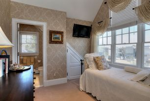 Traditional Guest Bedroom with Carpet, double-hung window, Standard height, interior wallpaper