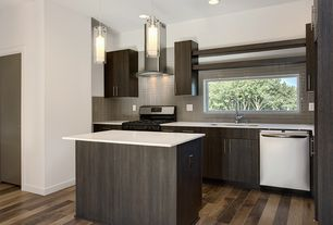 Contemporary Kitchen with IKEA EKESTAD Cabinet Drawer Front, L-shaped, European Cabinets, Hardwood floors, Corian counters