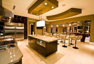 Contemporary Kitchen with Crema Beige, L-shaped, Pendant light, Flush, built-in microwave, warming oven, Kitchen island
