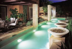 Contemporary Swimming Pool with Fountain, Lap pool, Water feature, exterior stone floors, Covered patio