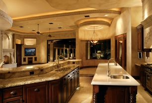 Mediterranean Kitchen with Complex Granite, Pendant light, Raised panel, Custom hood, High ceiling, Ceiling fan, French doors