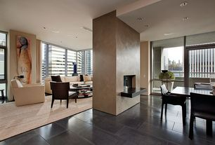 Contemporary Great Room with simple marble tile floors, Columns