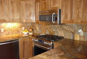 Craftsman Kitchen with Onyx, Raised panel, Inset cabinets, Canyon Creek Custom Recessed Cabinet Doors In Beech, U-shaped