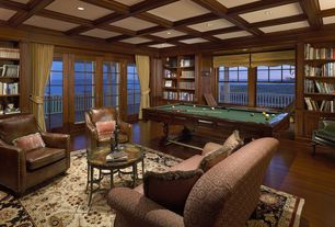 Traditional Game Room with Window seat, Balcony, Hardwood floors, French doors, Wall sconce, Standard height, Wood panel wall