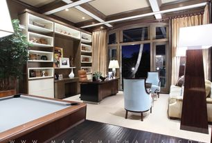 Contemporary Home Office with Coffered ceiling, Exposed beam, Pool table, Floor length curtains, Hardwood floors