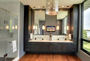 Contemporary 3/4 Bathroom with Flush, Undermount sink, European Cabinets, Corian counters, Chandelier, Double sink