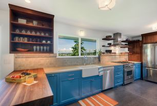 Modern Kitchen with European Cabinets, U-shaped, Wood counters, flush light, Flush, Flat panel cabinets, Subway Tile