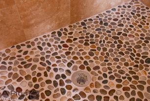 """Rustic 3/4 Bathroom with Mosaic river stones tiles, 12"""" x12"""" travertine tile"""