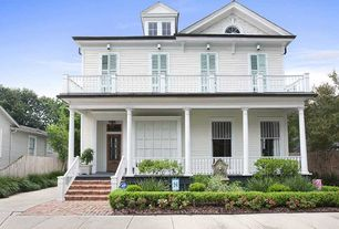 Traditional Porch with 8 ft. x 36 in. Vinyl White Traditional Rail Kit, Wrap around porch, Transom window, Screened porch
