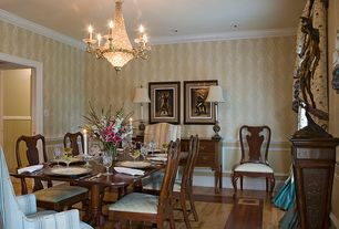 Traditional Dining Room with Chandelier, interior wallpaper, Standard height, Chair rail, Crown molding, can lights