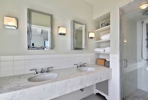 Modern Master Bathroom with flush light, Undermount sink, High ceiling, Complex marble counters, Double sink, Wall sconce