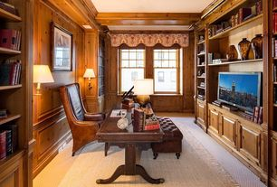 Craftsman Home Office with Box ceiling, Standard height, bedroom reading light, Crown molding, Built-in bookshelf, Carpet