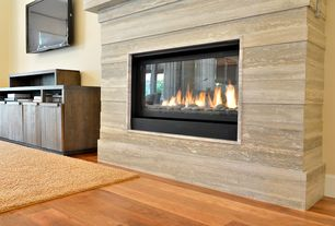 Contemporary Living Room with WOODLAND PARK NATURAL OAK LAMINATE FLOORING, Monessen Serenade Direct-Vent Fireplace - 42""