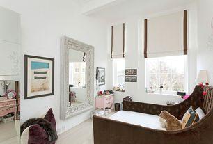 Modern Kids Bedroom with Mural, High ceiling, Crown molding, Laminate floors, Exposed beam