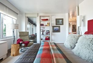 Eclectic Master Bedroom with Paint, Hardwood floors, Fleece plaid throw blanket, Pb teen - mongolian fur pillow, Casement